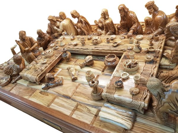 Olive Wood on Mahogany Wood Last Supper According to the Bible, History and Traditions