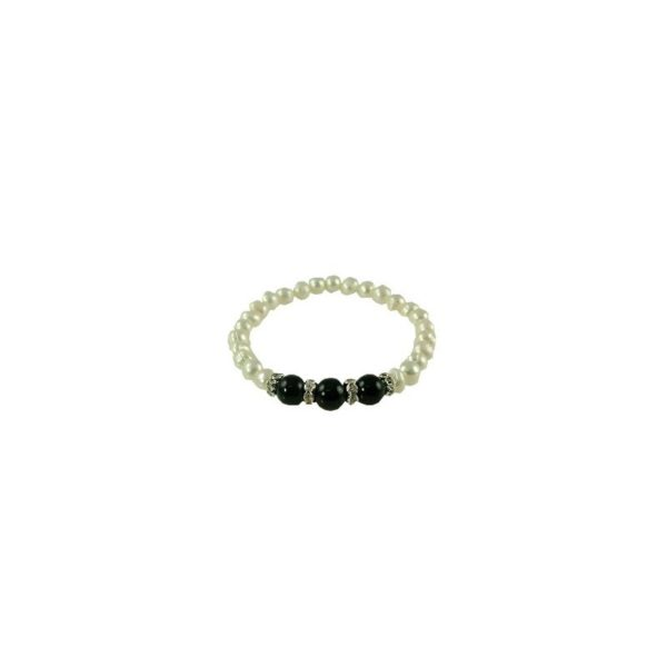 Pearl Bracelets with 3 black stones in center 6-8mm Elastic