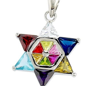 Star of David 12 Tribes  SS (One Side) Micron Gold Plated