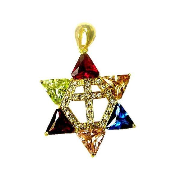 Star of David Cross Pendant – Gold Plated