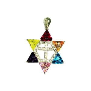 Star of David multi color w/ Cross Silver rohdium plated SOD28S