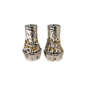 Set of 2 Jerusalem ball candle holder elongated w/gold SCH02