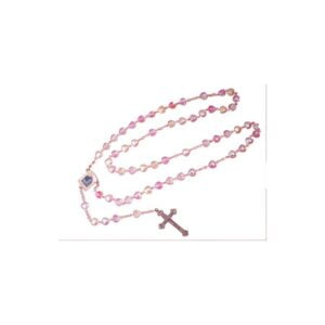 Heart Crystal Rosary-Pink Color-Bethlehem 2000 Logo RS10
