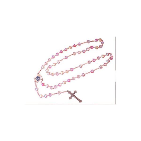 Heart Crystal Rosary-Pink Color-Bethlehem 2000 Logo RS10