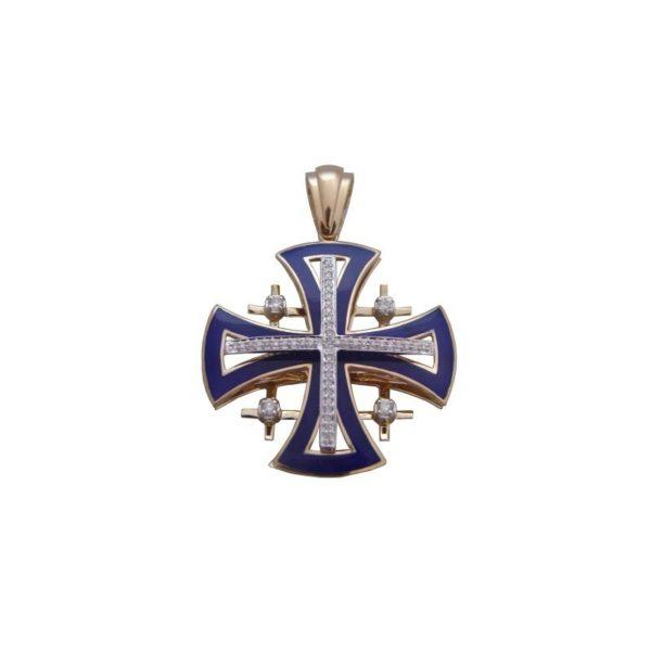 Diamond Emile Jerusalem Cross 14k Carat