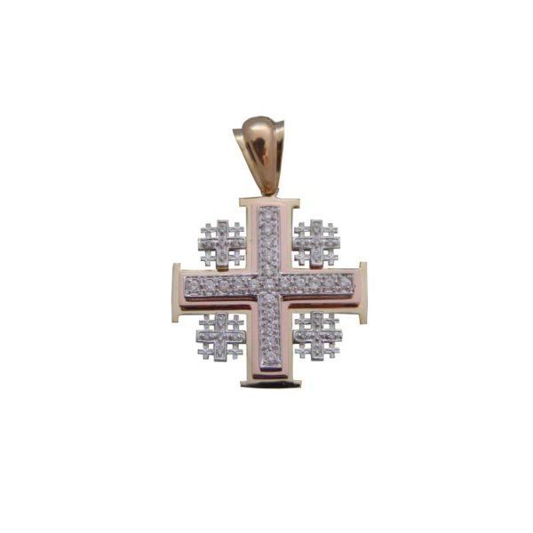 14K Diamond Jerusalem Cross 0.82CT P25082
