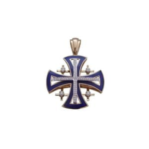 Jerusalem Cross Diamond Pendant 14K Carat Yellow Gold