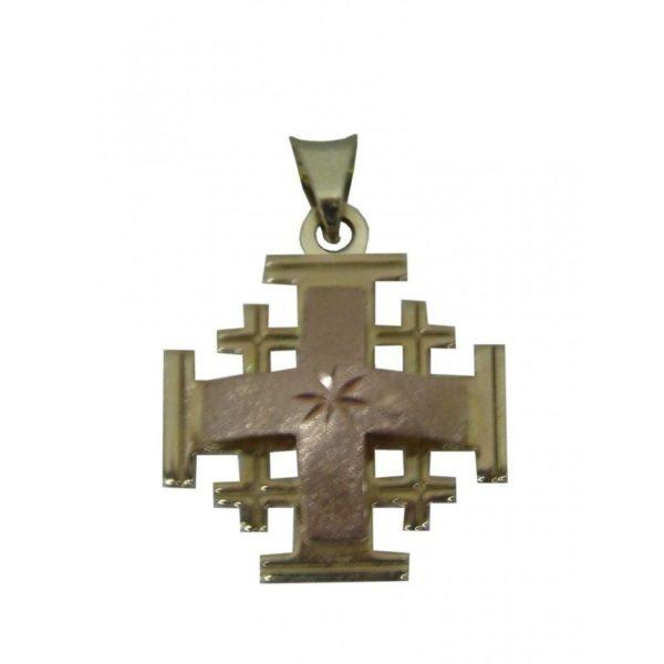 Jerusalem Cross Pendant Pink And Yellow Gold 14k Carat