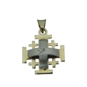 Jerusalem Cross  Pendant Yellow And White 14K Carat