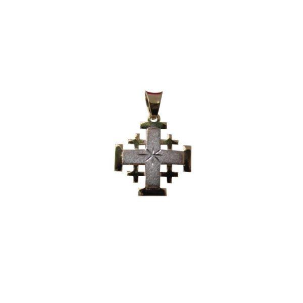 Jerusalem Cross Pendant Yellow And White Gold 14K Carat
