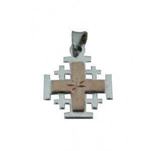 Jerusalem Cross Pendant White And Pink Gold 14K Carat