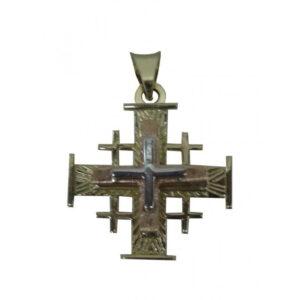 Jerusalem Cross Pendant Yellow,White And Pink Gold 14K Carat