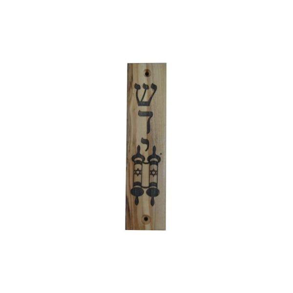 Olive Wood Mezuzah Shadai & Scroll OWM06
