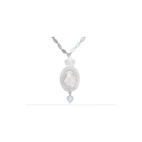 Mother Of Pearl Virgin & Child Necklace GWB4