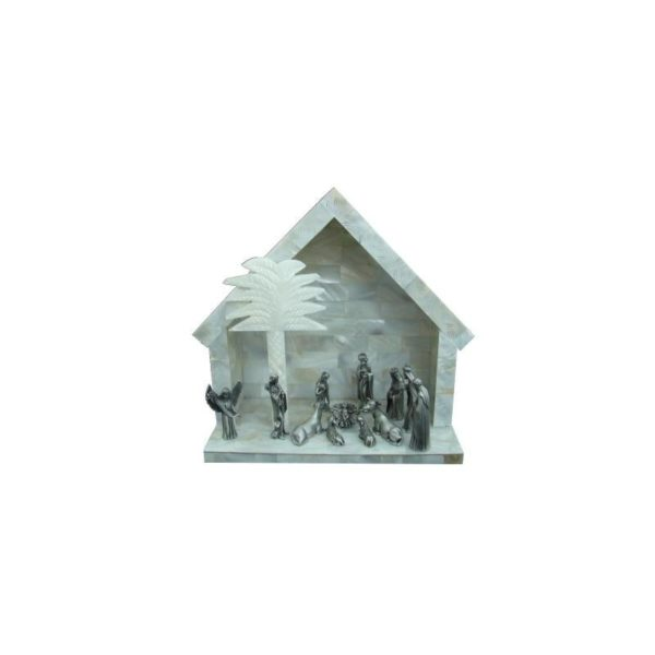 Mother Of Pearl Nativity Set -Pewter- MOPN01
