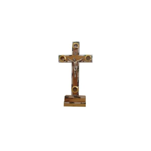 Olive Wood Cross With Mother Of Pearl Stand