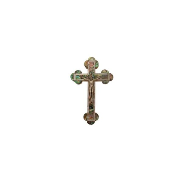 Mother Of Pearl Olive Wood Byzantine Cross With Crucifix