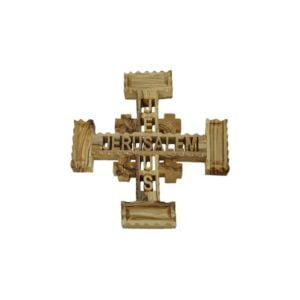 Olive Wood Jerusalem Cross With 2 Words Carved In It OWJJCW96