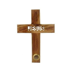 Olive Wood Jesus Carved Cross W/ 1 Holy Items OWC1TS
