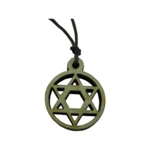 Star Of David Wooden Pendant W/Brown Rope