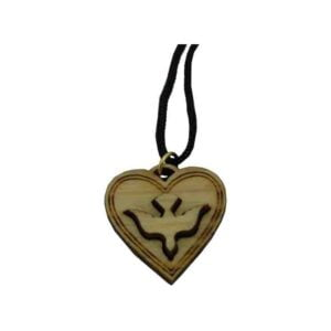 Pigeon Wooden Pendant  In A Heart