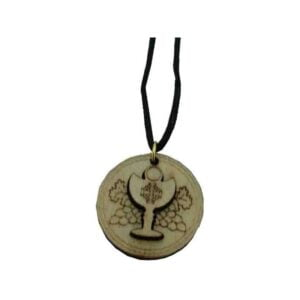 Communion Cup Wooden Pendant  W/Jerusalem Cross