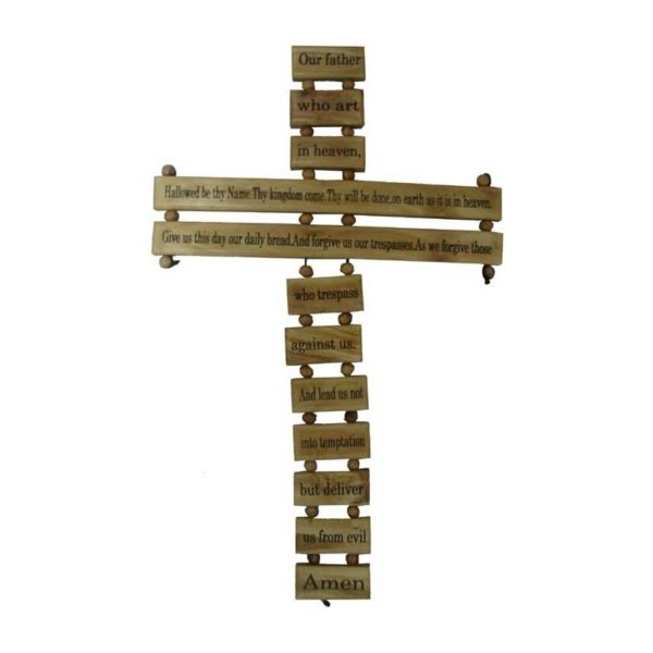 O.W. Cross Our Father Prayer Carved on it-10 Languages-OWOFC10L