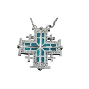 Jerusalem Cross Pendant D.Opal Silver 925 Magnet Opens OSSJCOO1