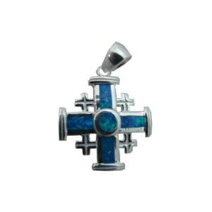 Sterling Silver Jerusalem Cross  Opal Pendant OSSJC052