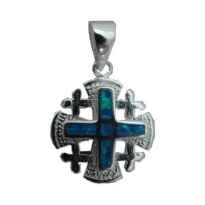 Sterling Silver Jerusalem Cross  Opal Pendant OSSJC060