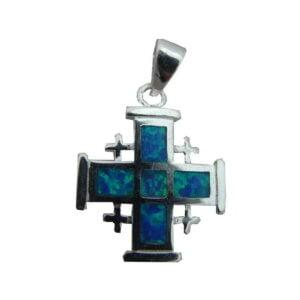 Sterling Silver Jerusalem Cross  Opal Pendant OSSJC063