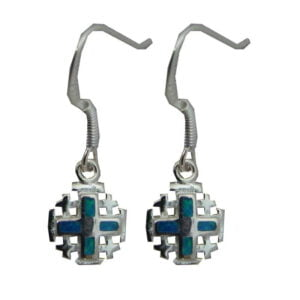 Sterling Silver Jerusalem Cross Opal Earrings OSSJC026