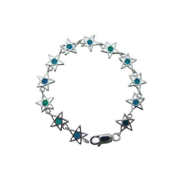 Sterling Silver Star Of Bethlehem Opal Bracelet OSSODB10