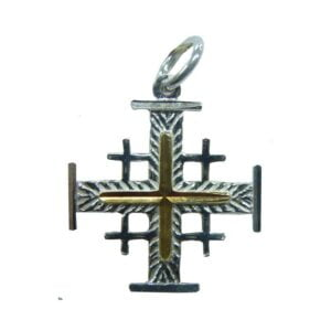 Jerusalem Cross Pendant Sterling Silver And Gold Plated