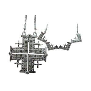 Jerusalem Cross Silver Sterling Pendant And Chain