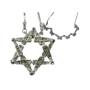 Sterling Silver Star of David W/Chain & CZ Open Magnet SODCZ392
