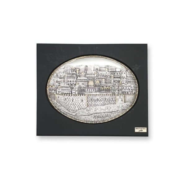 "Electroforming SS 925 Jerusalem Panorama ""Oval"" In Frame FR006"
