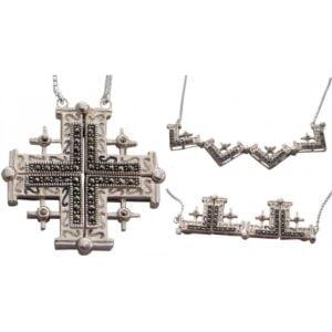 Marcasite SSilver(925) Jerusalem Cross Magnet Opens SSJCM24