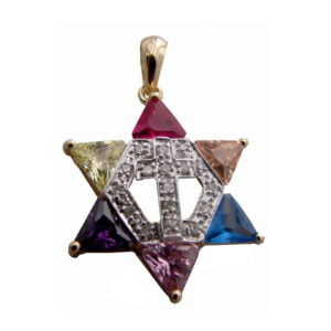 Star Of David W/Cross Pendant Colored Yellow And White 14K Carats Small