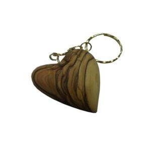 Olive Wood Heart Shape Key Chain 1.8″ OWHS3K