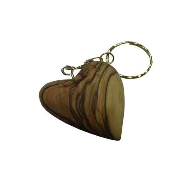 Olive Wood Heart Shape Key Chain 1.8″ OWHS3K
