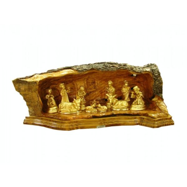 Olive Wood Nativity Set – Gold Plated Figurines