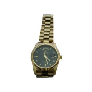 Round Large Gold Plated Watch-Black Inside-WGBIL