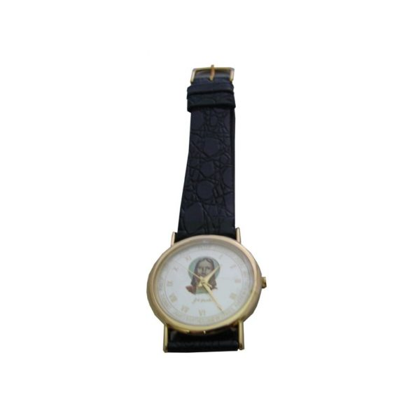 Round Gold Plated Watch-Jesus Head W/Leather Black Belt WGJHBL