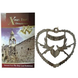Olive Wood Laser Ornament-Peace-OWO09
