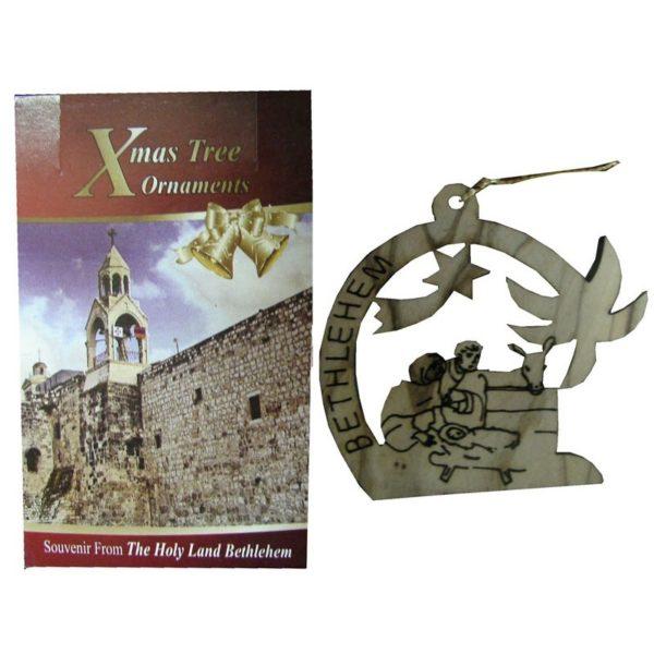 Olive Wood Laser Ornament-Nativity-OWO18