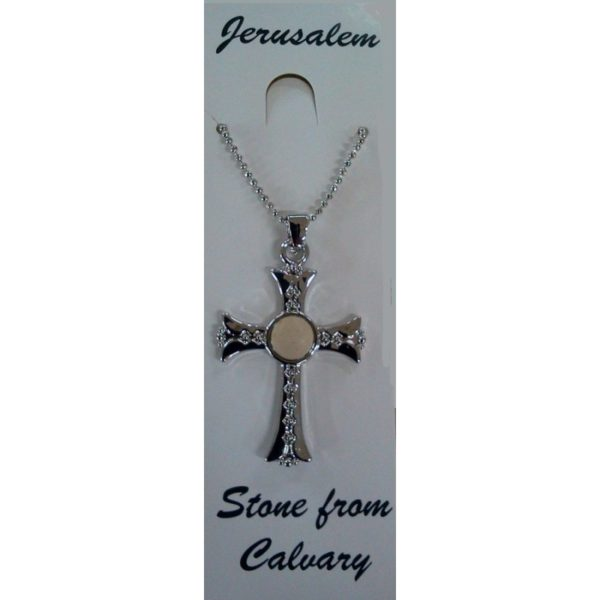 Silver Plated Cross Pendant with Calvary Stone