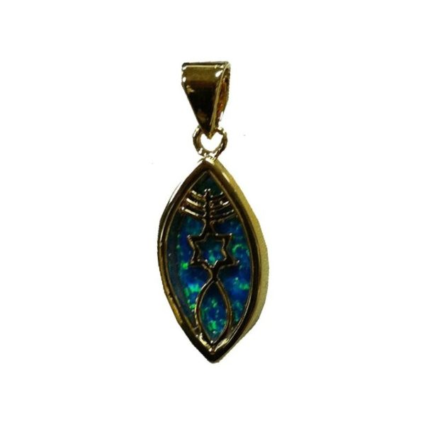 Messianic Sign Pendant with Black Doublet Opal Gold Plated