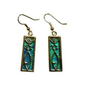 Messianic Sign Earrings With Black Doublet Opal Gold Micron Plated