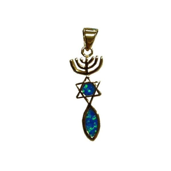 Messianic Sign Pendant With Black Doublet Opal Gold Micron Plated